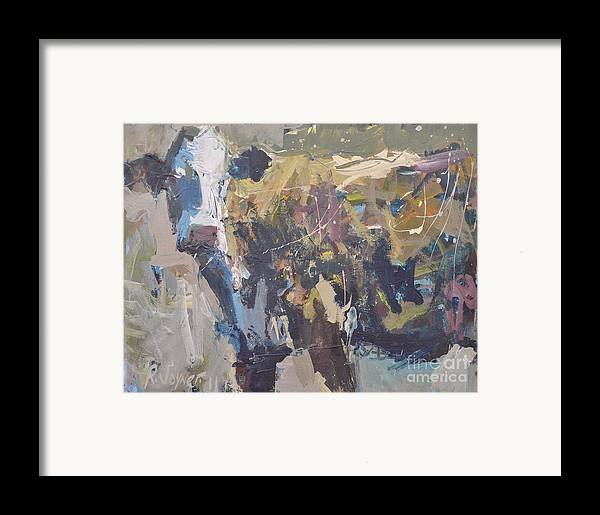 Art Framed Print featuring the painting Modern Abstract Cow Painting by Robert Joyner