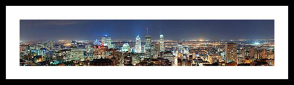 Montreal Framed Print featuring the photograph Montreal At Dusk Panorama by Songquan Deng