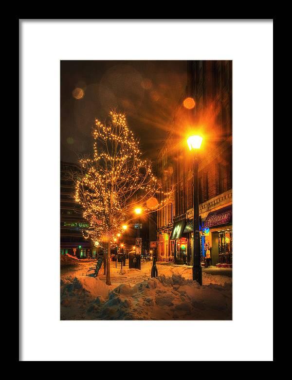 Portland Framed Print featuring the photograph Monument Square - Portland Maine by Joann Vitali