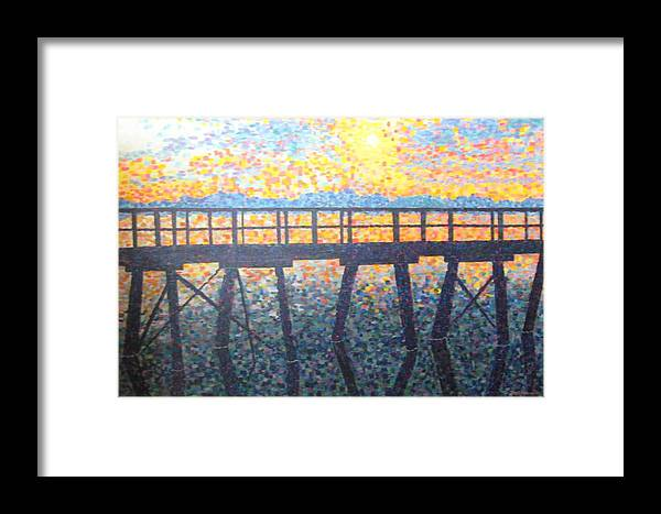 Seascape Framed Print featuring the painting Mosiac Pier by Sheryl Sutherland