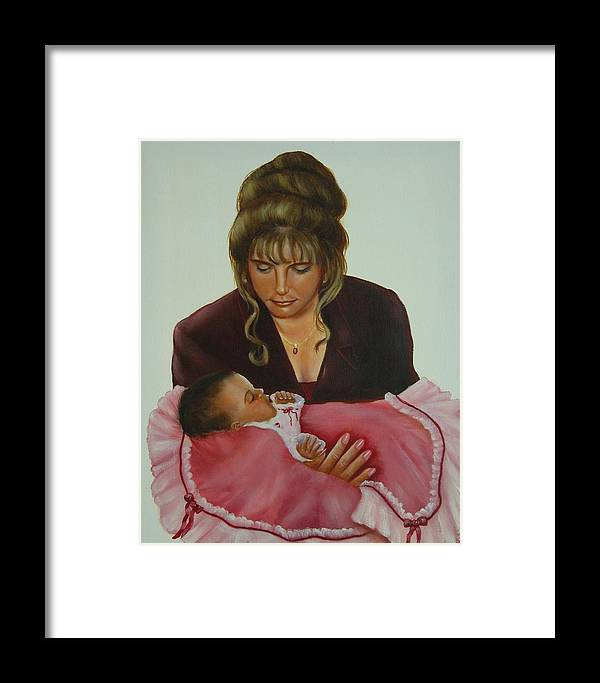 Portrait Framed Print featuring the painting Mother And Child by Joni McPherson