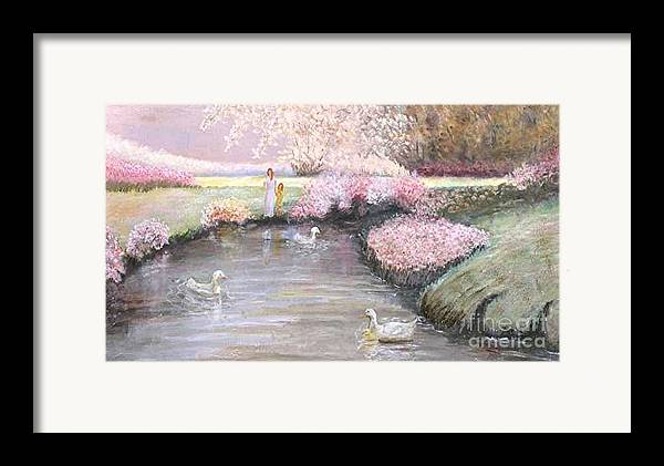 Landscape Painting Framed Print featuring the painting Mother And Child by Nicholas Minniti