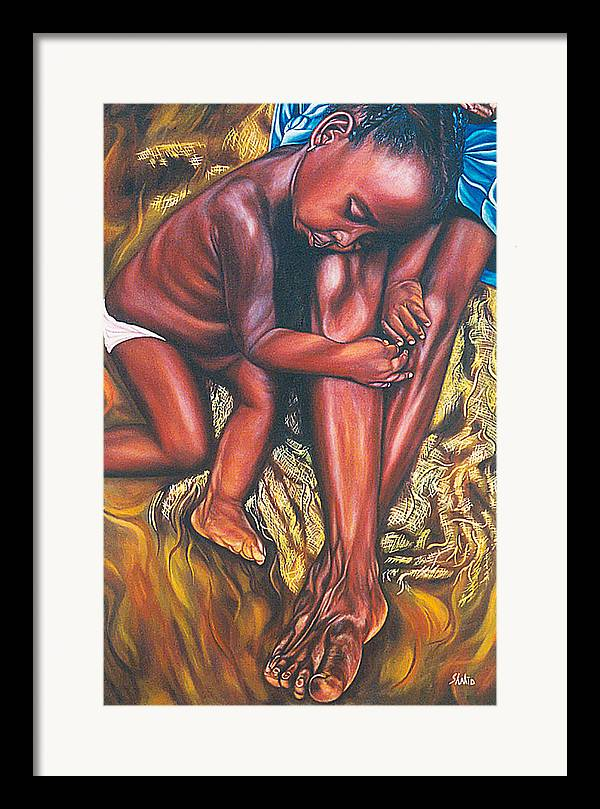Figurative Framed Print featuring the painting Mother And Child by Shahid Muqaddim