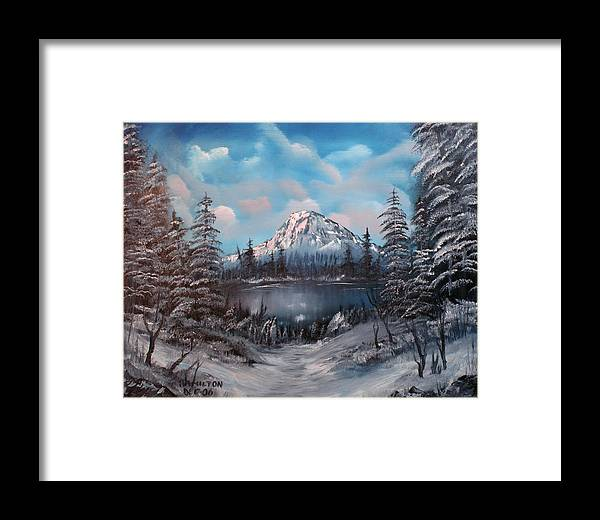 Oil Framed Print featuring the painting Mount Hood Oregon by Larry Hamilton