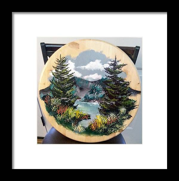 Kandscape Framed Print featuring the painting Mountain Lake by Ken Farnsworth