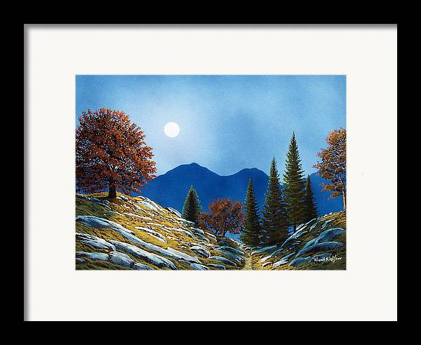 Landscape Framed Print featuring the painting Mountain Moonrise by Frank Wilson
