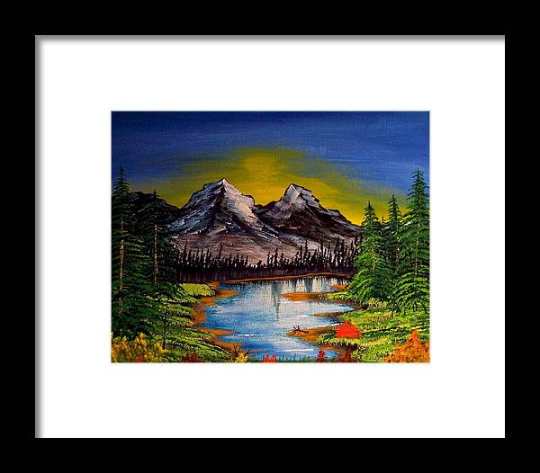 Original Framed Print featuring the painting Mountain Sunrise by J Ringo