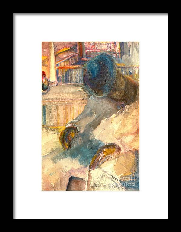 Watercolor Framed Print featuring the painting Mr Hunters Porch by Daun Soden-Greene