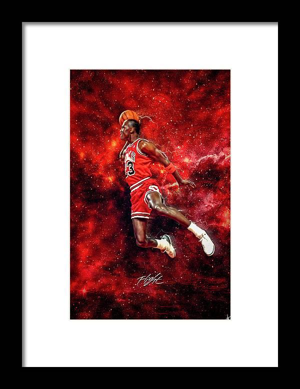 Mr. Michael Jeffrey Jordan Framed Print featuring the digital art Mr. Michael Jeffrey Jordan aka Air Jordan MJ by Nicholas Grunas