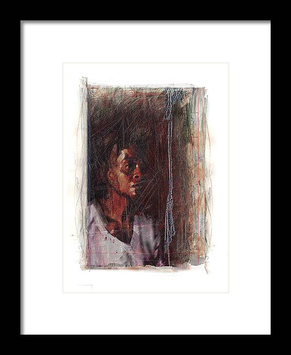 Portrait Framed Print featuring the digital art Mrs. Henner by Nuff