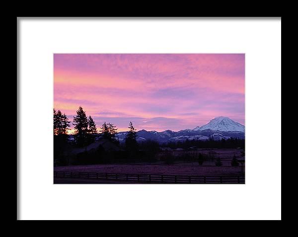 Sunrise Framed Print featuring the photograph Mt Rainier Frosty Sunrise by Shirley Heyn