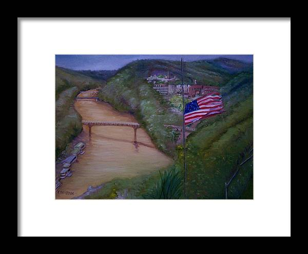 Flag Framed Print featuring the painting Muddy River by Karen Thompson