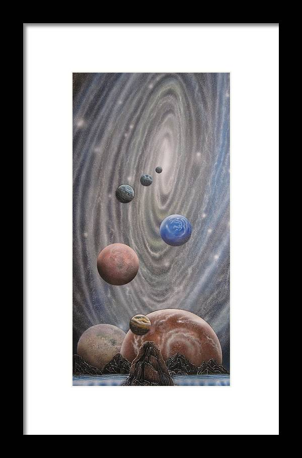 Alien Landscape Framed Print featuring the painting Multiverse 584 by Sam Del Russi
