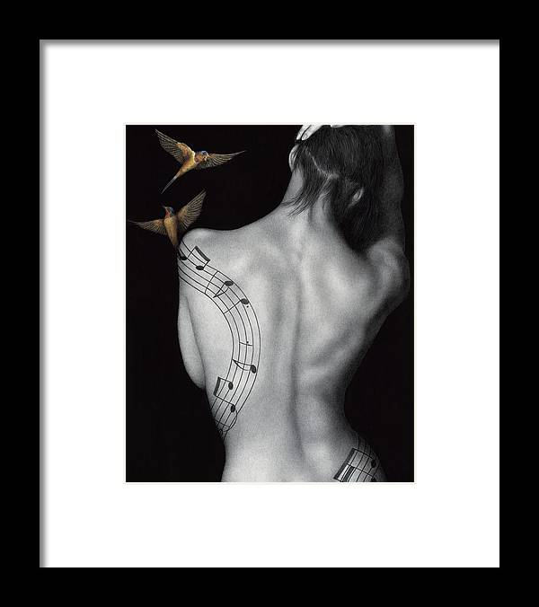 Woman Framed Print featuring the painting Muse-ic by Pat Erickson