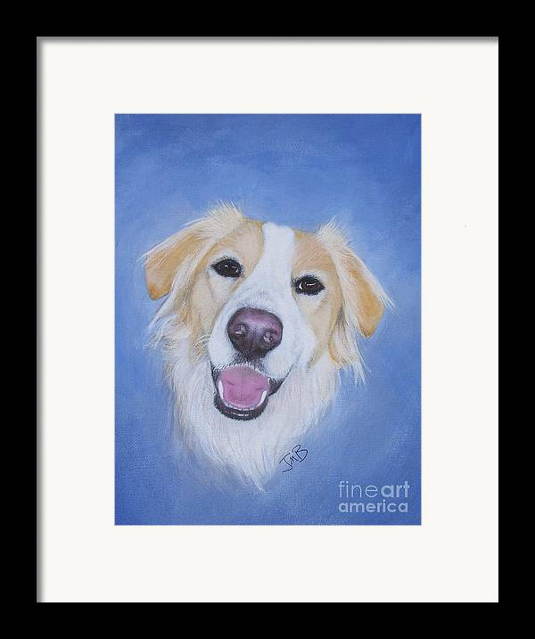 Dog Framed Print featuring the painting My Blonde Border Collie by Janice M Booth