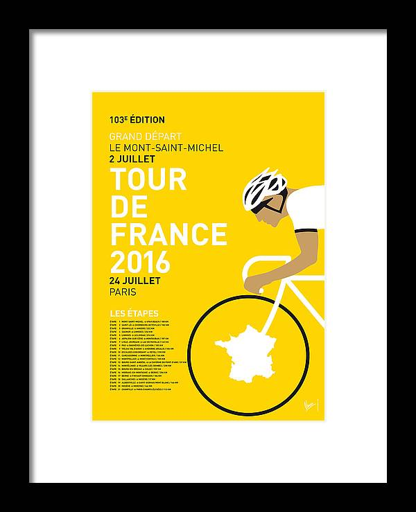 2016 Framed Print featuring the digital art My Tour De France Minimal Poster 2016 by Chungkong Art