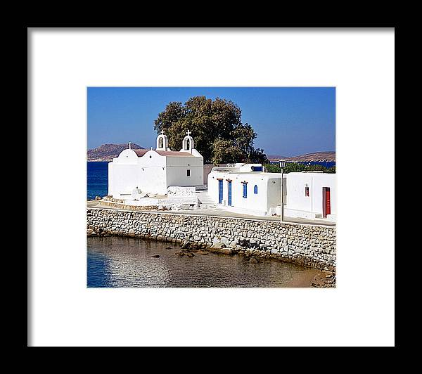 Mykonos Framed Print featuring the photograph Mykonos Church by John Hughes