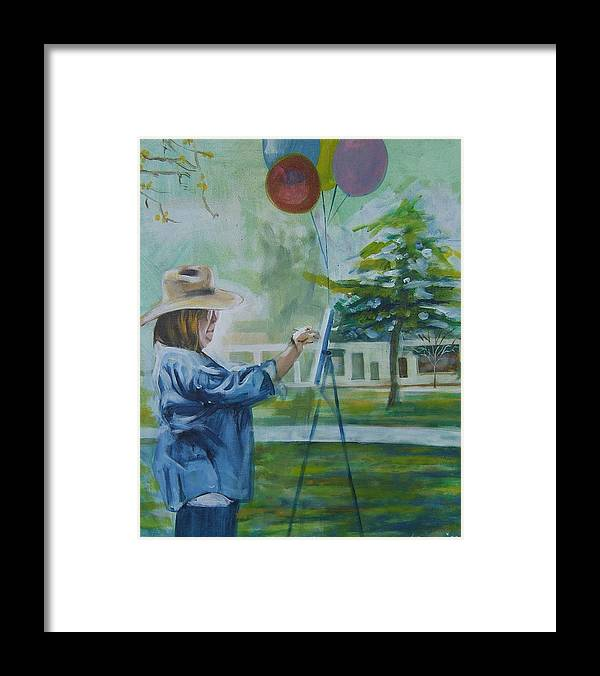 Artist At Work Framed Print featuring the painting Nancy by Howard Stroman