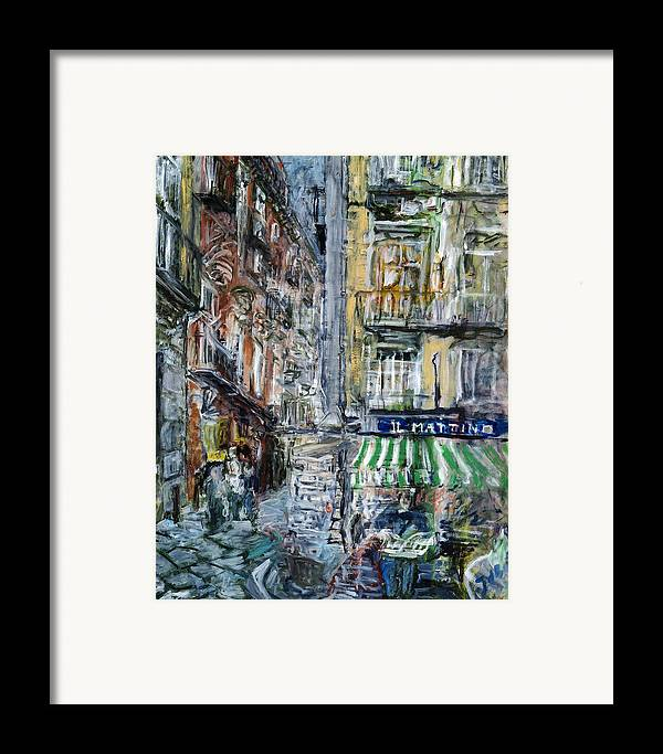 Cityscape Naples Italy Kiosk Alley Way Newspapers Framed Print featuring the painting Naples Kiosk by Joan De Bot