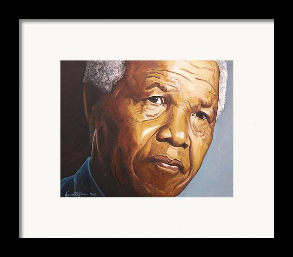 Portrait Framed Print featuring the painting Nelson Mandela by Kenneth Kelsoe