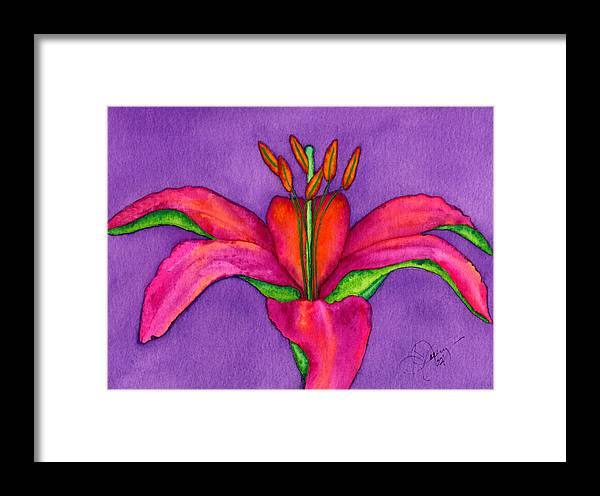 Red Lily Framed Print featuring the painting Neon Lily by Stephanie Jolley