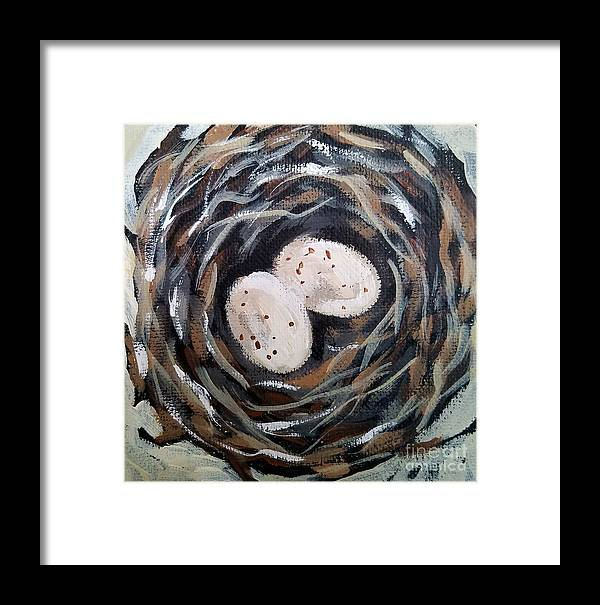 Bird Nest Eggs Framed Print featuring the painting Nest by Lora McGowan
