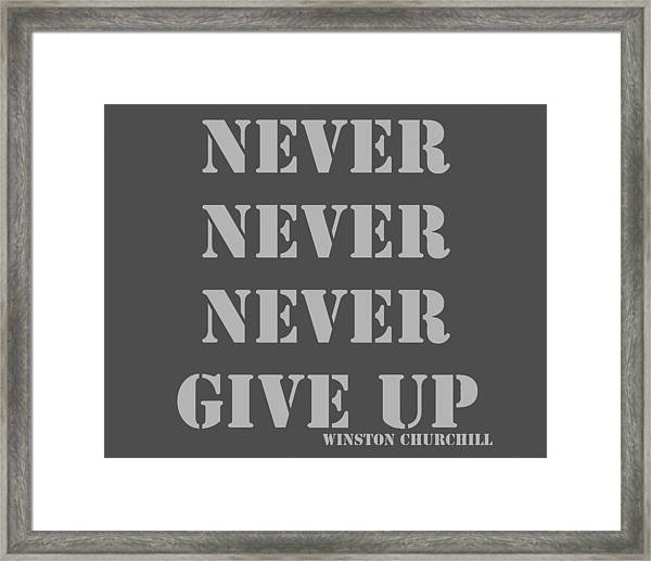 never never never give up pop art quotes framed print by keith