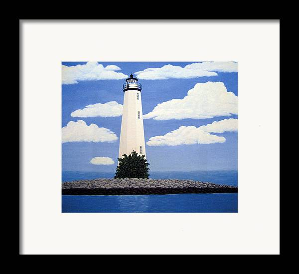Lighthouse Paintings Framed Print featuring the painting New Point Comfort Lighthouse by Frederic Kohli