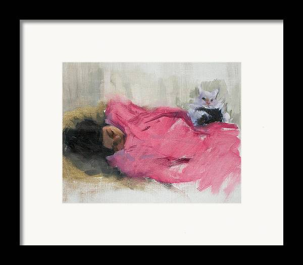 Cat Framed Print featuring the painting Nicole And Josie by Merle Keller