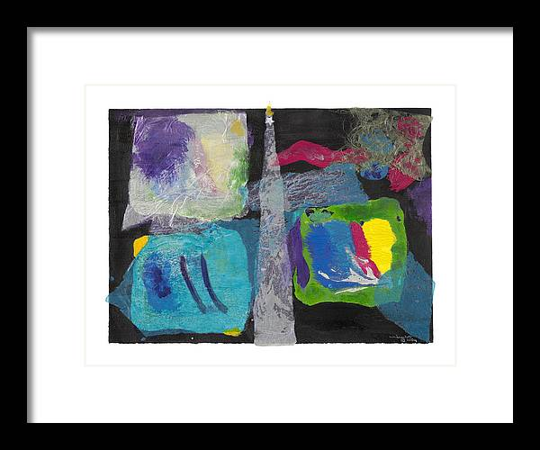 Expressionism Framed Print featuring the mixed media Night Light by Nancy Brockett