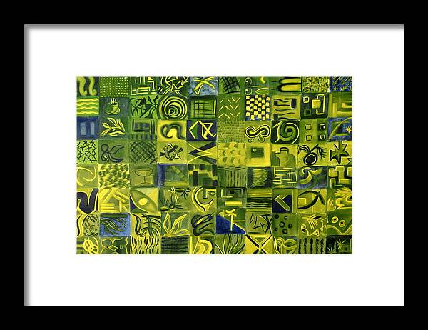 Green Framed Print featuring the painting Night On The Lawn by Patricia Cleasby
