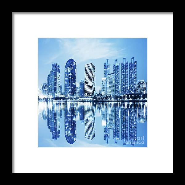 Architecture Framed Print featuring the photograph Night Scenes Of City 1 by Setsiri Silapasuwanchai