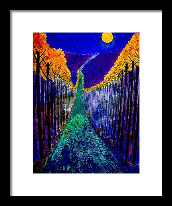 Road Framed Print featuring the painting Night Train by Kent Whitaker