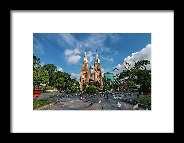 Free Image Framed Print featuring the photograph Notre-dame Cathedral Basilica Of Saigon, Officially Cathedral Basilica Of Our Lady Of The Immaculate by Binh Ho Ngoc