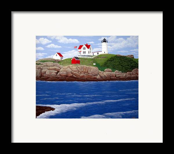 Lighthouses Framed Print featuring the painting Nubble Lighthouse by Frederic Kohli