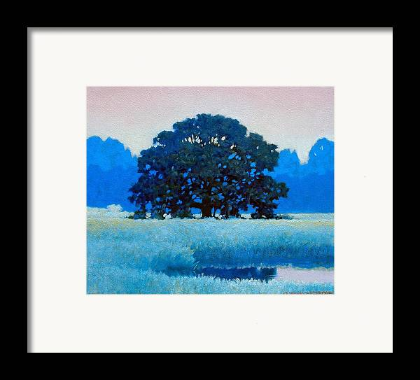 Landscape Framed Print featuring the painting Oak Tree by Kevin Lawrence Leveque