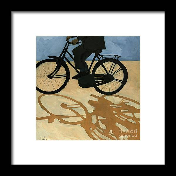 People Paintings Framed Print featuring the painting Off To Work - Painting by Linda Apple