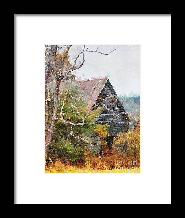 Landscape Framed Print featuring the digital art Old Barn At Cades Cove by Todd Blanchard