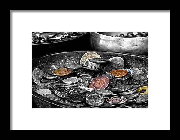 Old Coins Framed Print featuring the photograph Old Coins by Wolfgang Stocker
