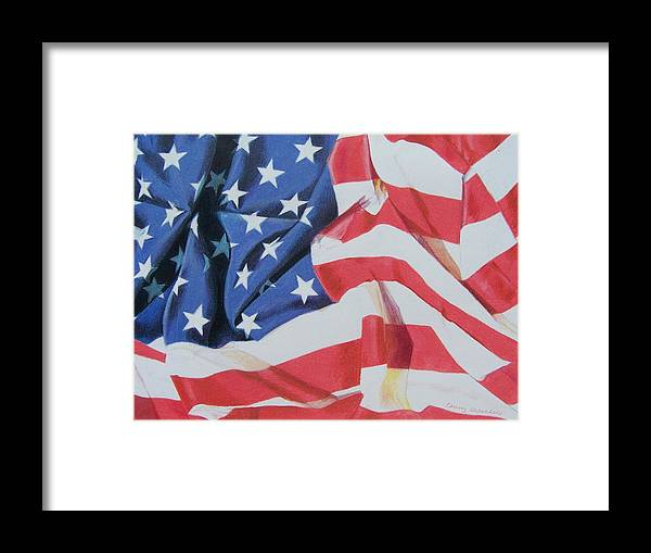 Flag Framed Print featuring the mixed media Old Glory by Constance Drescher