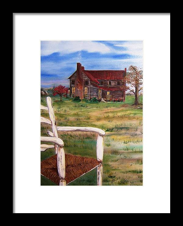 Landscape Framed Print featuring the painting Old Home by Penny Everhart