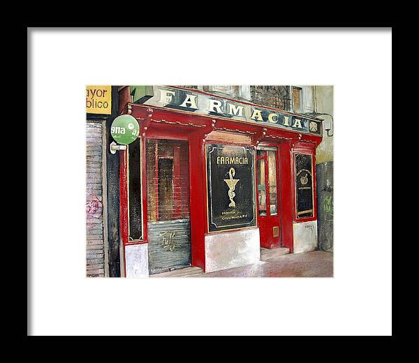 Farmacia Framed Print featuring the painting Old Pharmacy by Tomas Castano