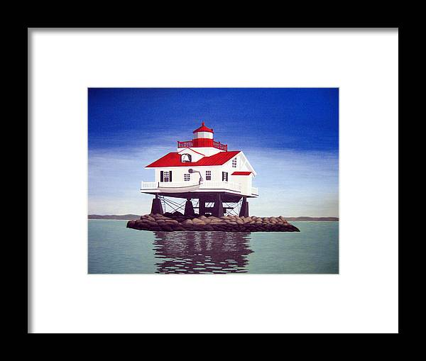 Lighthouse Paintings Framed Print featuring the painting Old Plantation Flats Lighthouse by Frederic Kohli