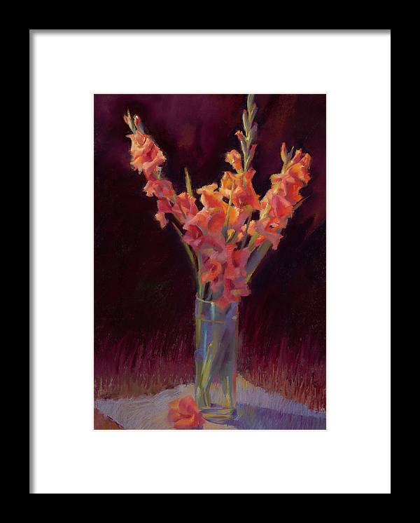 Floral Framed Print featuring the painting Orange Gladiolus by Cathy Locke