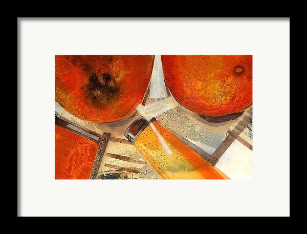 Framed Print featuring the painting Orange Still Life by Evguenia Men
