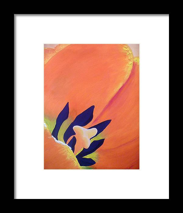 Tulip Framed Print featuring the painting Orange Tulip by Vivian Stearns-Kohler