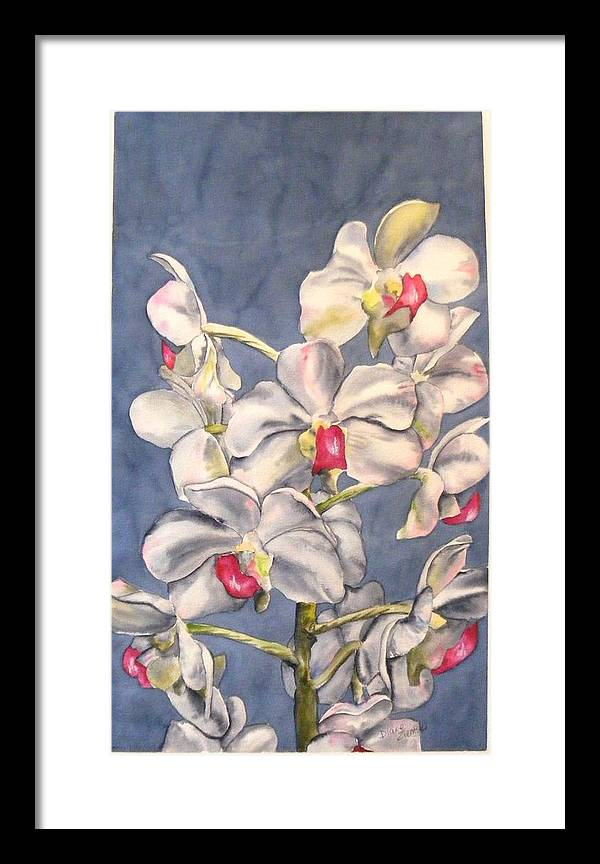 Floral Framed Print featuring the painting Orchids by Diane Ziemski