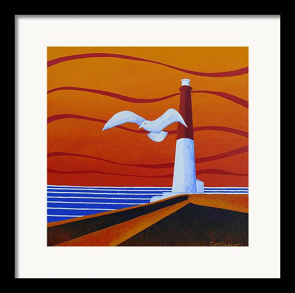 Lighthouse Framed Print featuring the painting Our Ol' Barney by James Cordasco