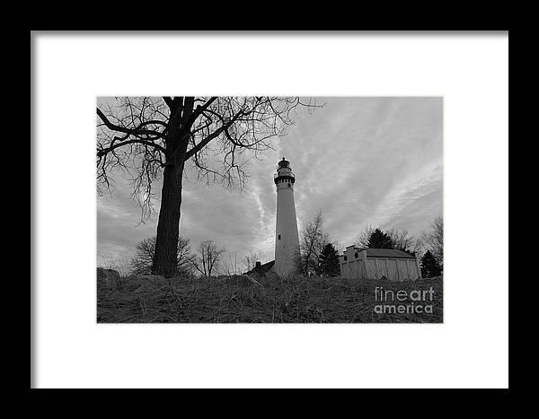 108 Feet Tall Framed Print featuring the photograph Overcast Lighthouse by Randall Saltys