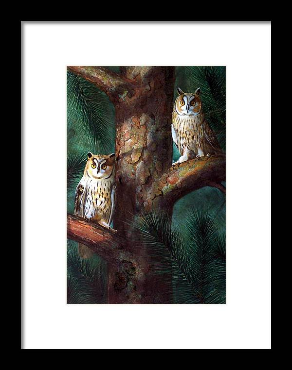 Wildlife Framed Print featuring the painting Owls In Moonlight by Frank Wilson